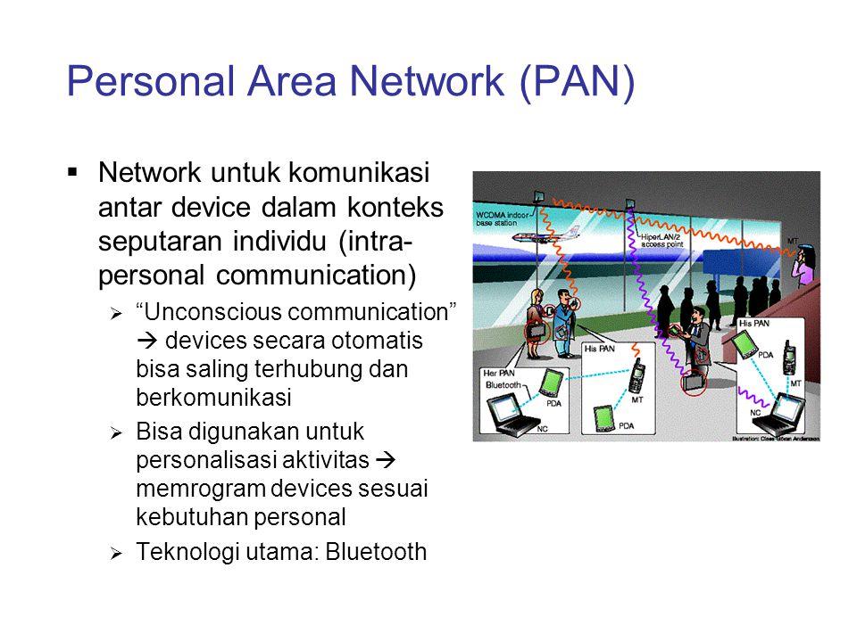 """Personal Area Network (PAN)  Network untuk komunikasi antar device dalam konteks seputaran individu (intra- personal communication)  """"Unconscious co"""