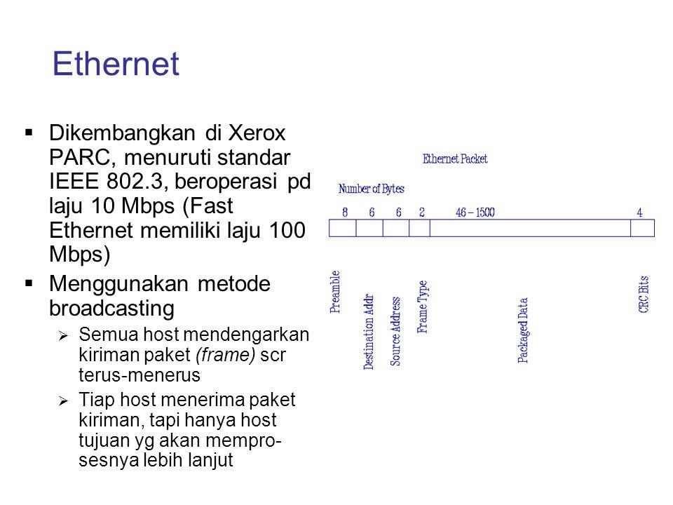 Ethernet  Dikembangkan di Xerox PARC, menuruti standar IEEE 802.3, beroperasi pd laju 10 Mbps (Fast Ethernet memiliki laju 100 Mbps)  Menggunakan me