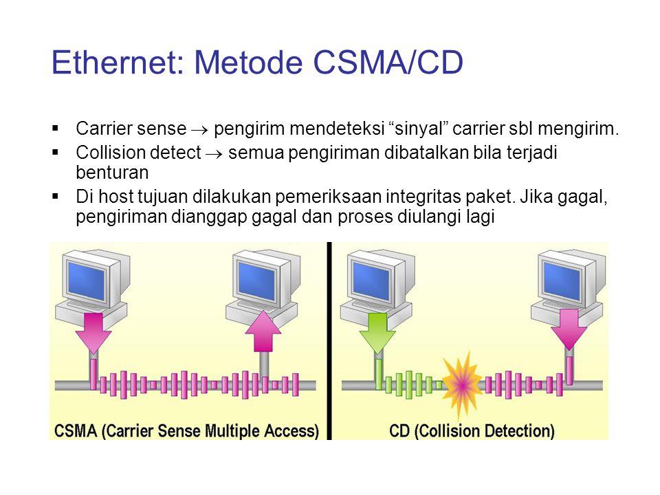 """Ethernet: Metode CSMA/CD  Carrier sense  pengirim mendeteksi """"sinyal"""" carrier sbl mengirim.  Collision detect  semua pengiriman dibatalkan bila te"""