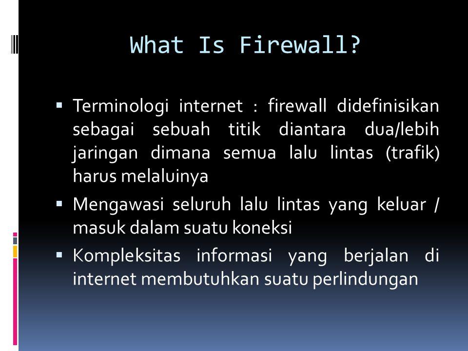 Proxy Server & Firewall  Memenuhi permintaan user untuk layanan internet (telnet, ftp,http), mengirimkannya sesua dengan kebijakan  Bertindak sebagai gateway menuju layanan  Mewakili paket data dari dalam dan dari luar  Menangani semua komunikasi internet - eksternal