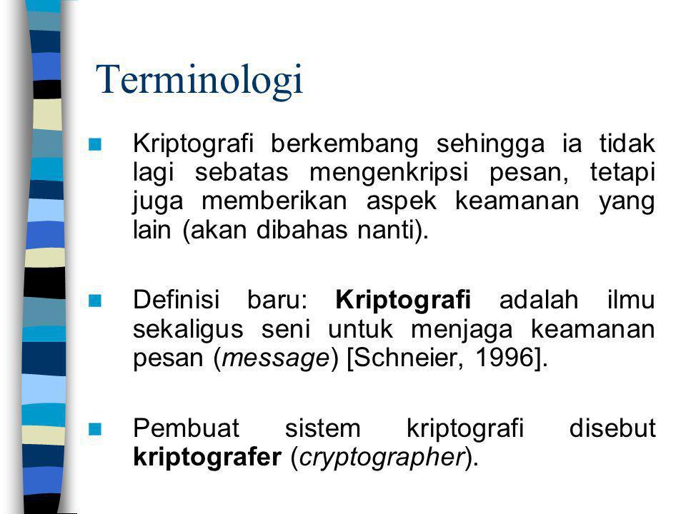 Terminologi Kriptografi berkembang sehingga ia tidak lagi sebatas mengenkripsi pesan, tetapi juga memberikan aspek keamanan yang lain (akan dibahas na