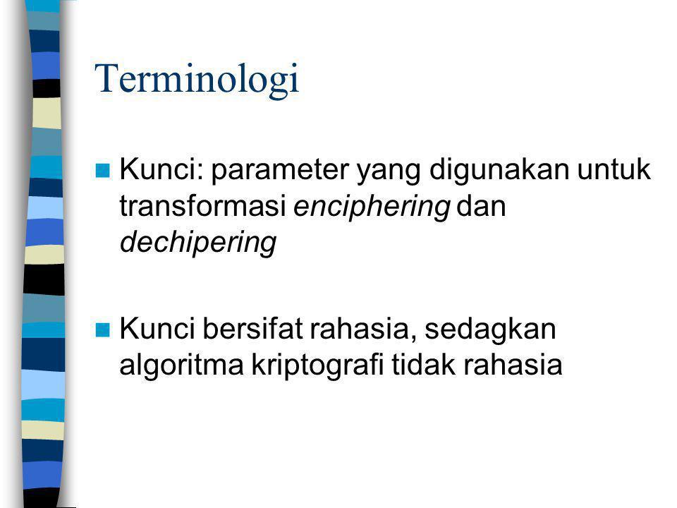 Terminologi Kunci: parameter yang digunakan untuk transformasi enciphering dan dechipering Kunci bersifat rahasia, sedagkan algoritma kriptografi tida