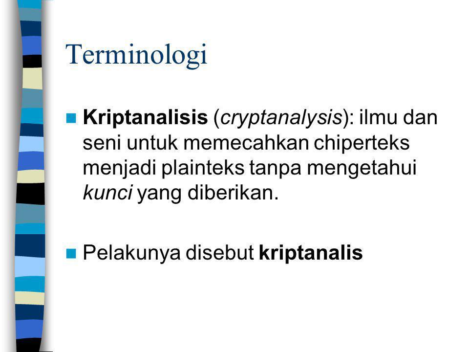 Terminologi Kriptanalisis (cryptanalysis): ilmu dan seni untuk memecahkan chiperteks menjadi plainteks tanpa mengetahui kunci yang diberikan. Pelakuny