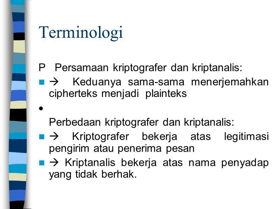 Terminologi P Persamaan kriptografer dan kriptanalis:  Keduanya sama-sama menerjemahkan cipherteks menjadi plainteks  Perbedaan kriptografer dan kri
