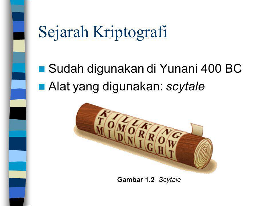 Sejarah Kriptografi Sudah digunakan di Yunani 400 BC Alat yang digunakan: scytale Gambar 1.2 Scytale