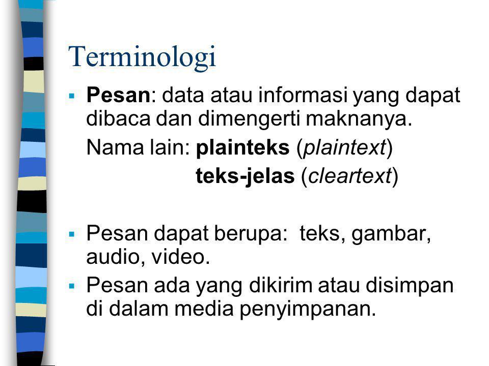 Terminologi  Pesan: data atau informasi yang dapat dibaca dan dimengerti maknanya. Nama lain: plainteks (plaintext) teks-jelas (cleartext)  Pesan da