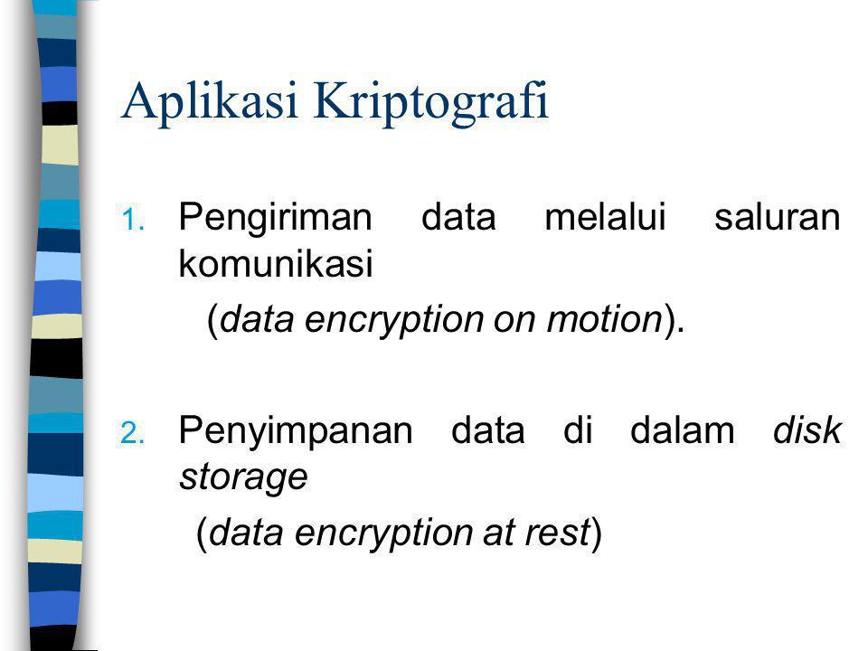 Aplikasi Kriptografi 1. Pengiriman data melalui saluran komunikasi (data encryption on motion). 2. Penyimpanan data di dalam disk storage (data encryp