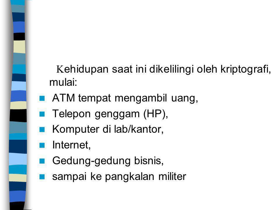 K ehidupan saat ini dikelilingi oleh kriptografi, mulai: ATM tempat mengambil uang, Telepon genggam (HP), Komputer di lab/kantor, Internet, Gedung-ged