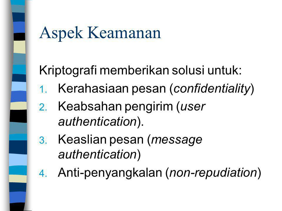 Aspek Keamanan Kriptografi memberikan solusi untuk: 1. Kerahasiaan pesan (confidentiality) 2. Keabsahan pengirim (user authentication). 3. Keaslian pe