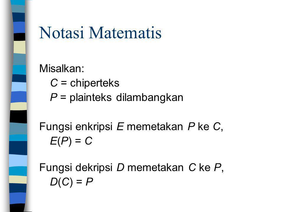 Notasi Matematis Misalkan: C = chiperteks P = plainteks dilambangkan Fungsi enkripsi E memetakan P ke C, E(P) = C Fungsi dekripsi D memetakan C ke P,