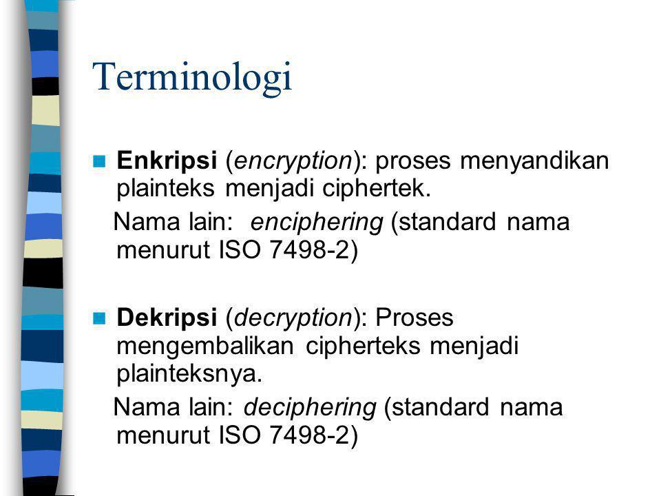 Terminologi Enkripsi (encryption): proses menyandikan plainteks menjadi ciphertek. Nama lain: enciphering (standard nama menurut ISO 7498-2) Dekripsi