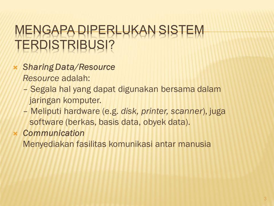  Sharing Data/Resource Resource adalah: – Segala hal yang dapat digunakan bersama dalam jaringan komputer. – Meliputi hardware (e.g. disk, printer, s