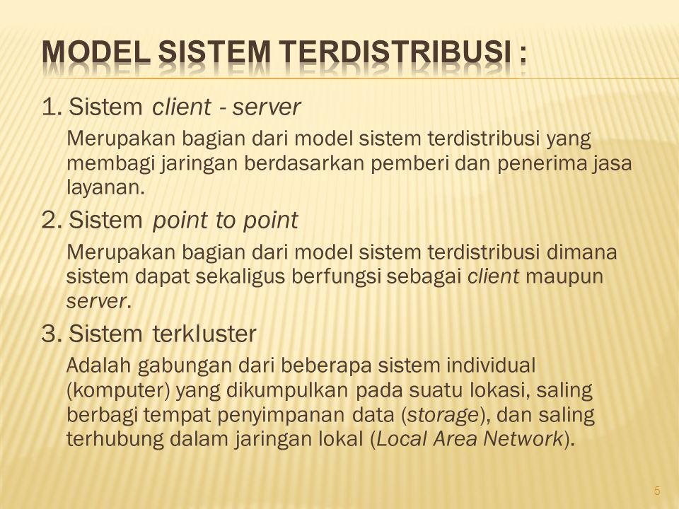 1. Sistem client - server Merupakan bagian dari model sistem terdistribusi yang membagi jaringan berdasarkan pemberi dan penerima jasa layanan. 2. Sis