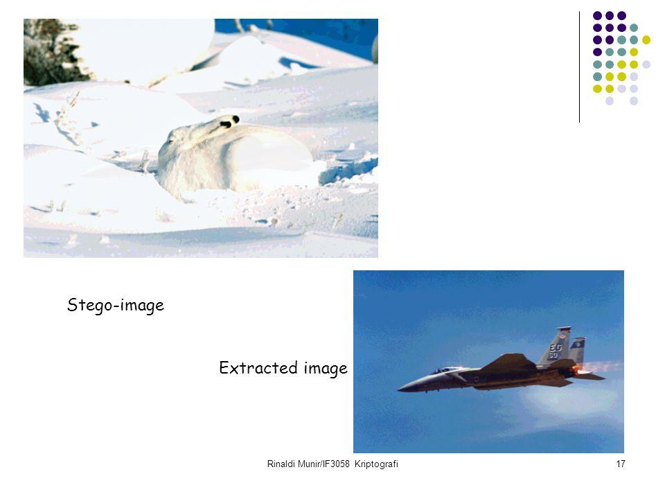 Rinaldi Munir/IF3058 Kriptografi17 Stego-image Extracted image