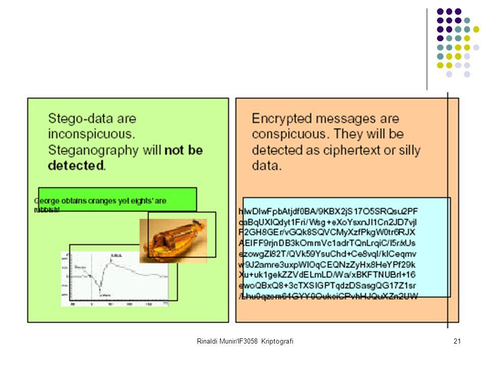 Rinaldi Munir/IF3058 Kriptografi22 Steganografi vs Kriminal Steganografi sering digunakan dalam melakukan komunikasi rahasia antar teroris atau pelaku kriminal.