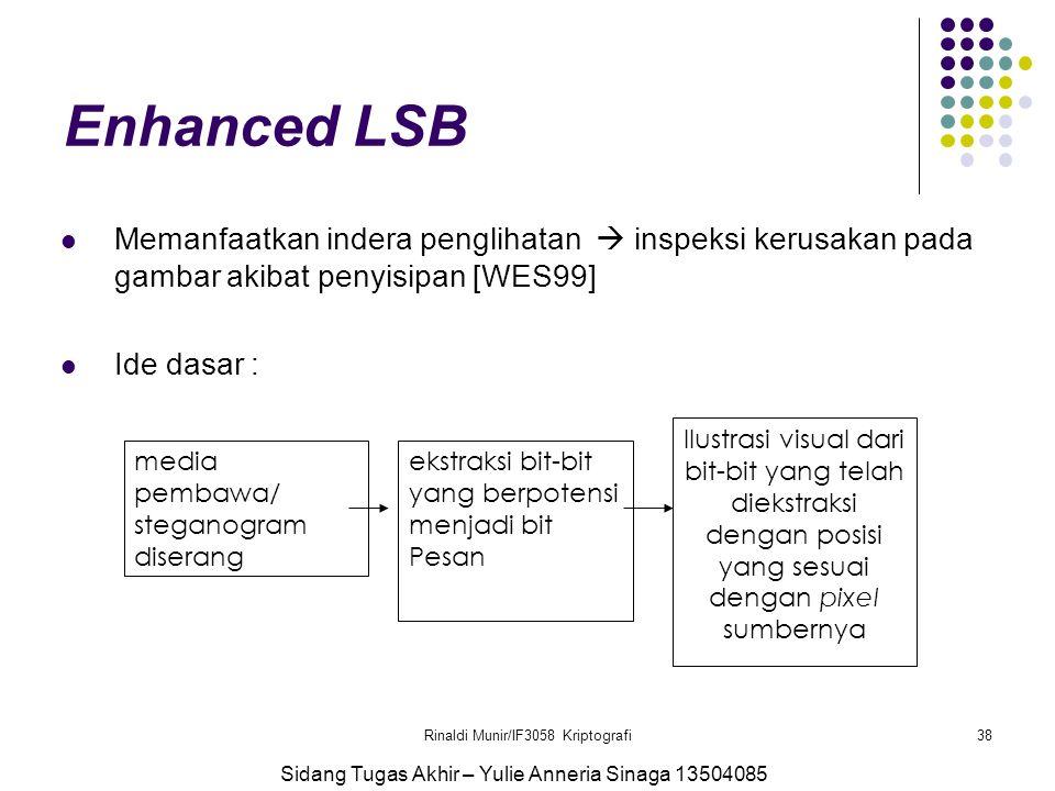Rinaldi Munir/IF3058 Kriptografi38 Enhanced LSB Memanfaatkan indera penglihatan  inspeksi kerusakan pada gambar akibat penyisipan [WES99] Ide dasar :