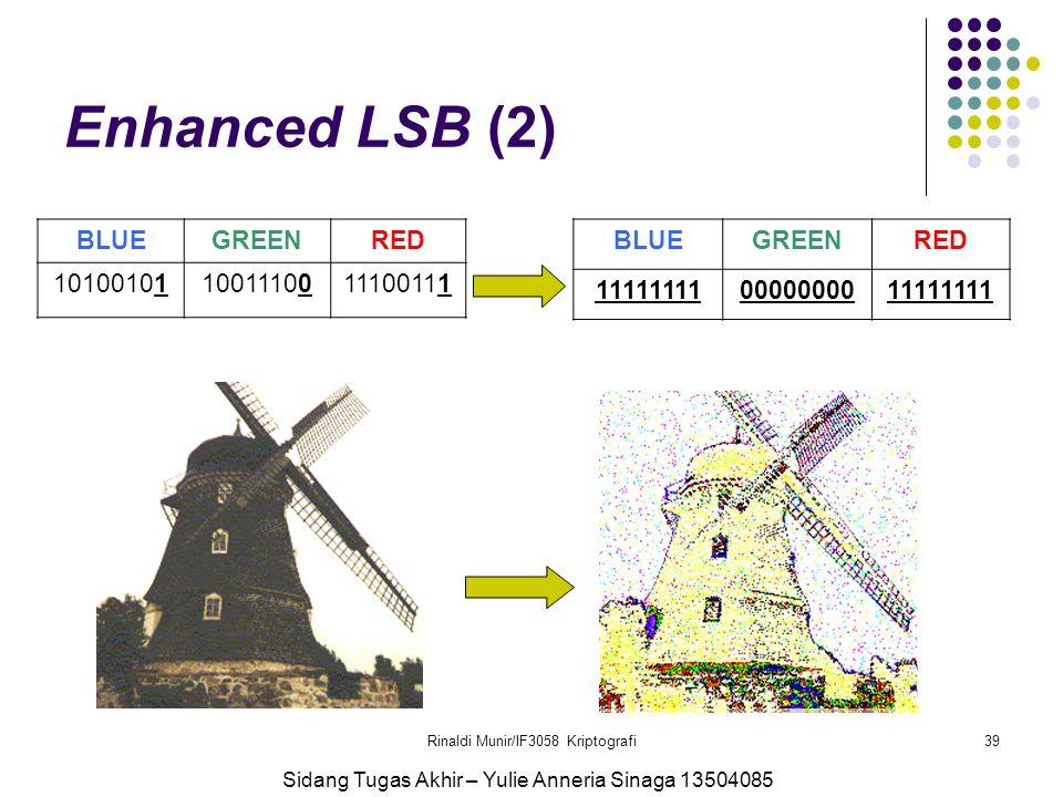 Rinaldi Munir/IF3058 Kriptografi39 Enhanced LSB (2) BLUEGREENRED 101001011001110011100111 BLUEGREENRED 111111110000000011111111 Sidang Tugas Akhir – Y