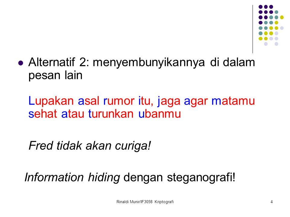 Rinaldi Munir/IF3058 Kriptografi4 Alternatif 2: menyembunyikannya di dalam pesan lain Lupakan asal rumor itu, jaga agar matamu sehat atau turunkan uba