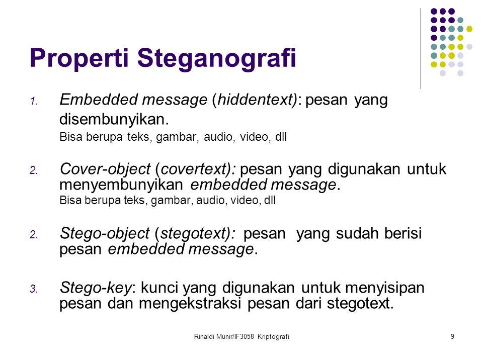 Rinaldi Munir/IF3058 Kriptografi9 Properti Steganografi 1. Embedded message (hiddentext): pesan yang disembunyikan. Bisa berupa teks, gambar, audio, v