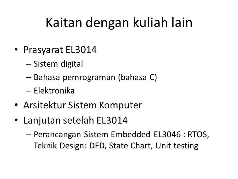 Kaitan dengan kuliah lain Prasyarat EL3014 – Sistem digital – Bahasa pemrograman (bahasa C) – Elektronika Arsitektur Sistem Komputer Lanjutan setelah