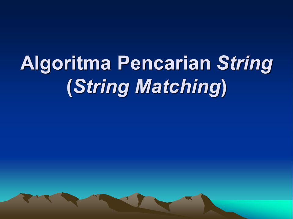 Persoalan pencarian string Diberikan: 1.teks (text), yaitu (long) string yang panjangnya n karakter 2.pattern, yaitu string dengan panjang m karakter (m < n) yang akan dicari di dalam teks.
