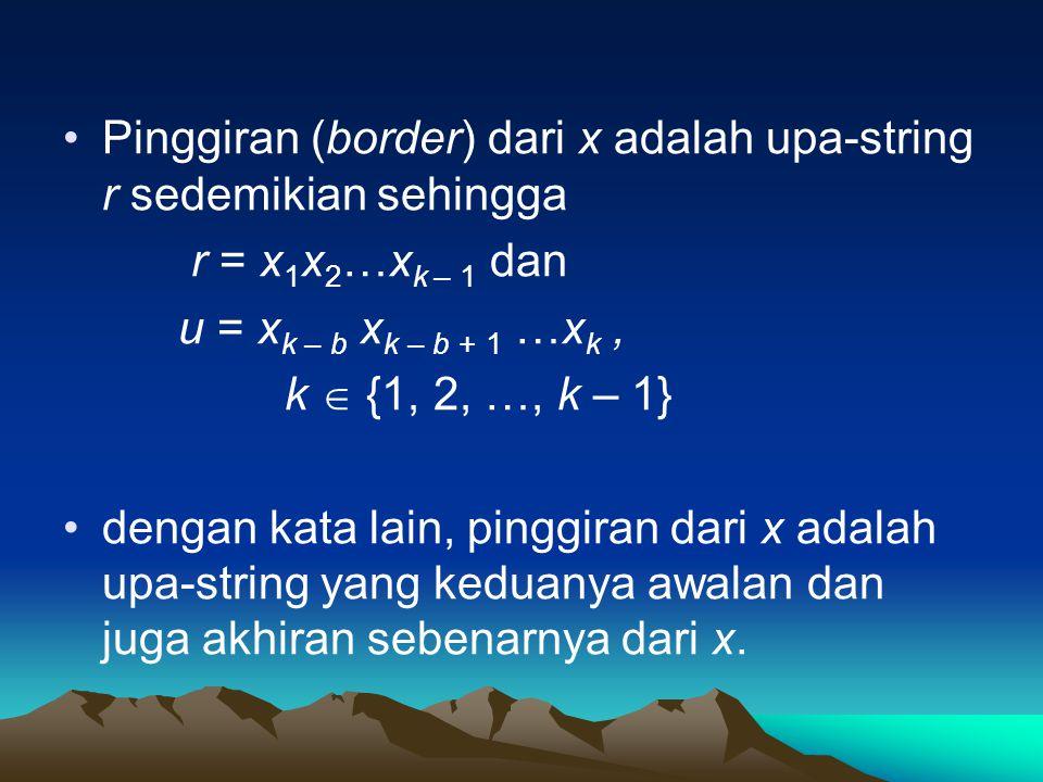 Pinggiran (border) dari x adalah upa-string r sedemikian sehingga r = x 1 x 2 …x k – 1 dan u = x k – b x k – b + 1 …x k, k  {1, 2, …, k – 1} dengan kata lain, pinggiran dari x adalah upa-string yang keduanya awalan dan juga akhiran sebenarnya dari x.