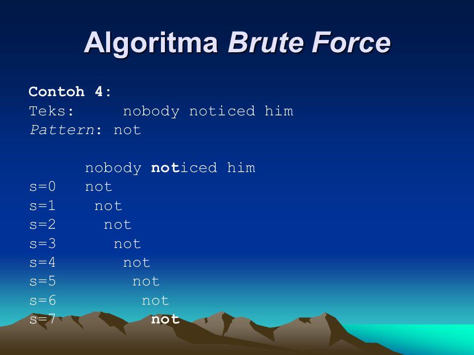 Algoritma Brute Force Contoh 4: Teks: nobody noticed him Pattern: not nobody noticed him s=0 not s=1 not s=2 not s=3 not s=4 not s=5 not s=6 not s=7 not