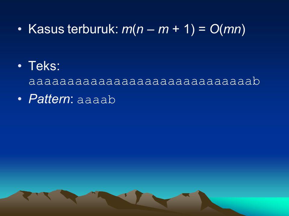 Kasus terburuk: m(n – m + 1) = O(mn) Teks: aaaaaaaaaaaaaaaaaaaaaaaaaaaaab Pattern: aaaab