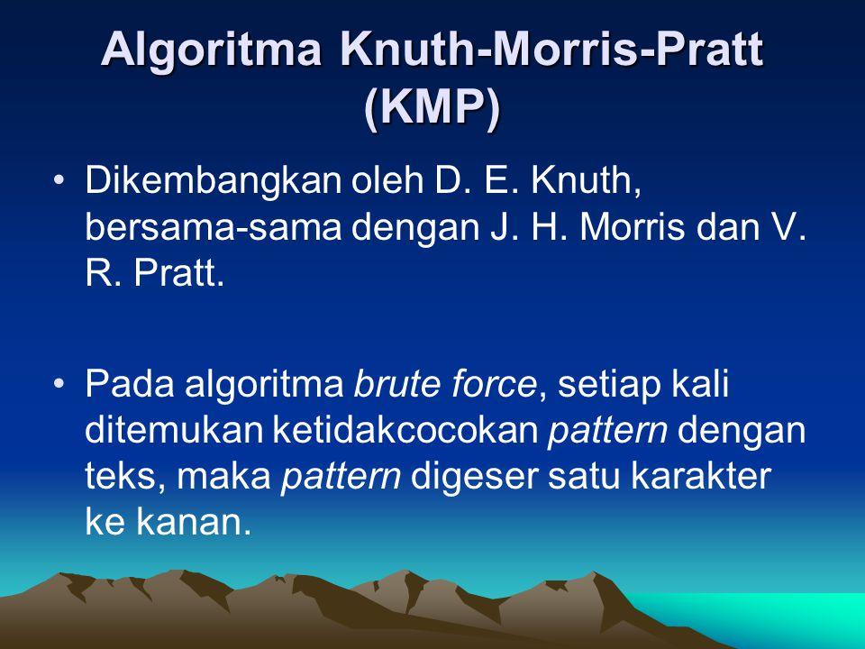 Sedangkan pada algoritma KMP, kita memelihara informasi yang digunakan untuk melakukan jumlah pergeseran.