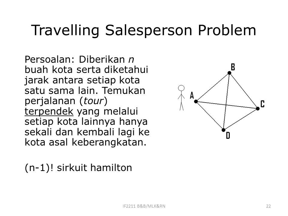 22 Travelling Salesperson Problem Persoalan: Diberikan n buah kota serta diketahui jarak antara setiap kota satu sama lain. Temukan perjalanan (tour)