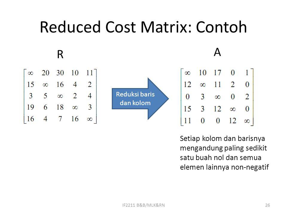 Reduced Cost Matrix: Contoh IF2211 B&B/MLK&RN26 Reduksi baris dan kolom Setiap kolom dan barisnya mengandung paling sedikit satu buah nol dan semua elemen lainnya non-negatif R A