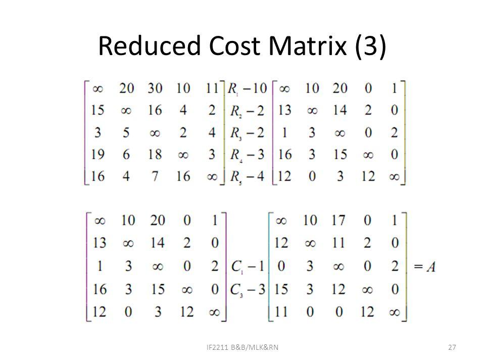 Reduced Cost Matrix (3) IF2211 B&B/MLK&RN27