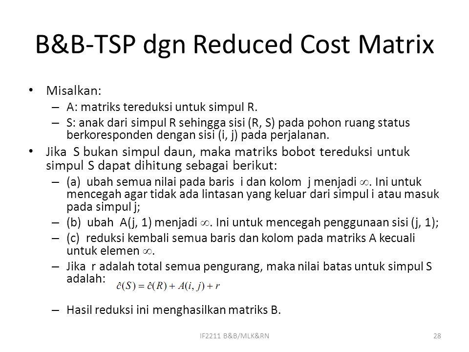 B&B-TSP dgn Reduced Cost Matrix Misalkan: – A: matriks tereduksi untuk simpul R. – S: anak dari simpul R sehingga sisi (R, S) pada pohon ruang status