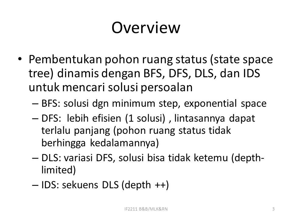 Overview Pembentukan pohon ruang status (state space tree) dinamis dengan BFS, DFS, DLS, dan IDS untuk mencari solusi persoalan – BFS: solusi dgn minimum step, exponential space – DFS: lebih efisien (1 solusi), lintasannya dapat terlalu panjang (pohon ruang status tidak berhingga kedalamannya) – DLS: variasi DFS, solusi bisa tidak ketemu (depth- limited) – IDS: sekuens DLS (depth ++) 3IF2211 B&B/MLK&RN