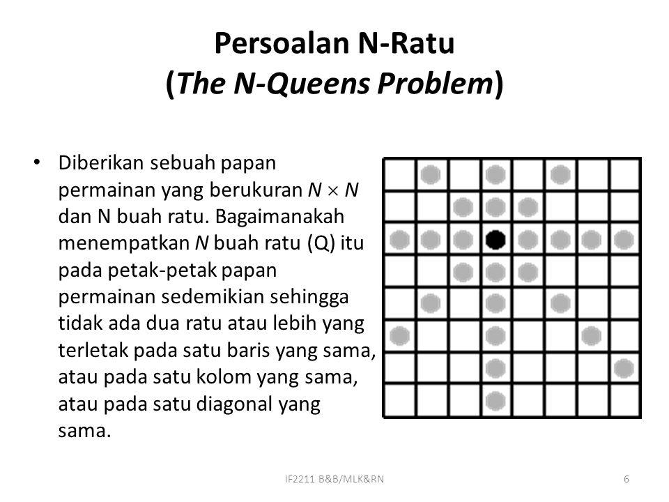 6 Persoalan N-Ratu (The N-Queens Problem) Diberikan sebuah papan permainan yang berukuran N  N dan N buah ratu. Bagaimanakah menempatkan N buah ratu