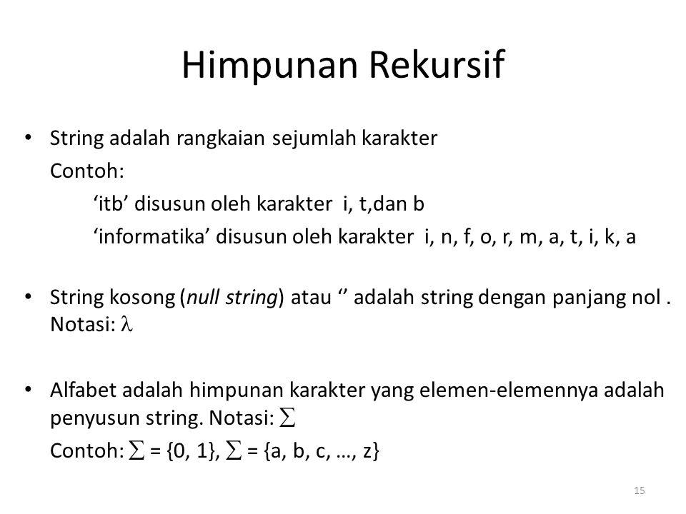 Himpunan Rekursif String adalah rangkaian sejumlah karakter Contoh: 'itb' disusun oleh karakter i, t,dan b 'informatika' disusun oleh karakter i, n, f