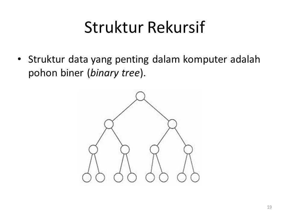 Struktur Rekursif Struktur data yang penting dalam komputer adalah pohon biner (binary tree). 19