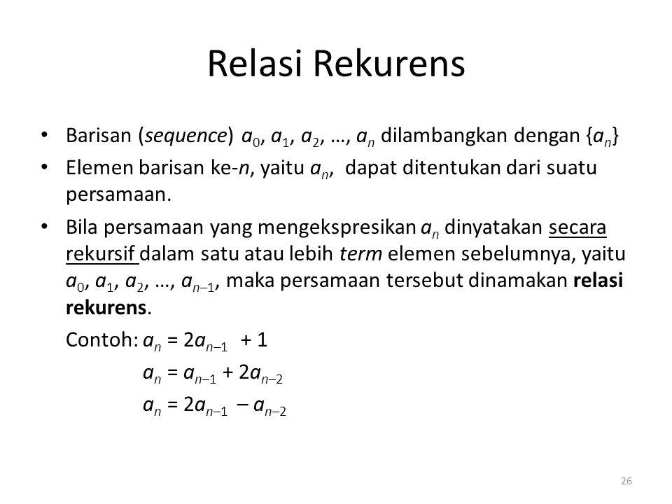 Relasi Rekurens Barisan (sequence) a 0, a 1, a 2, …, a n dilambangkan dengan {a n } Elemen barisan ke-n, yaitu a n, dapat ditentukan dari suatu persam