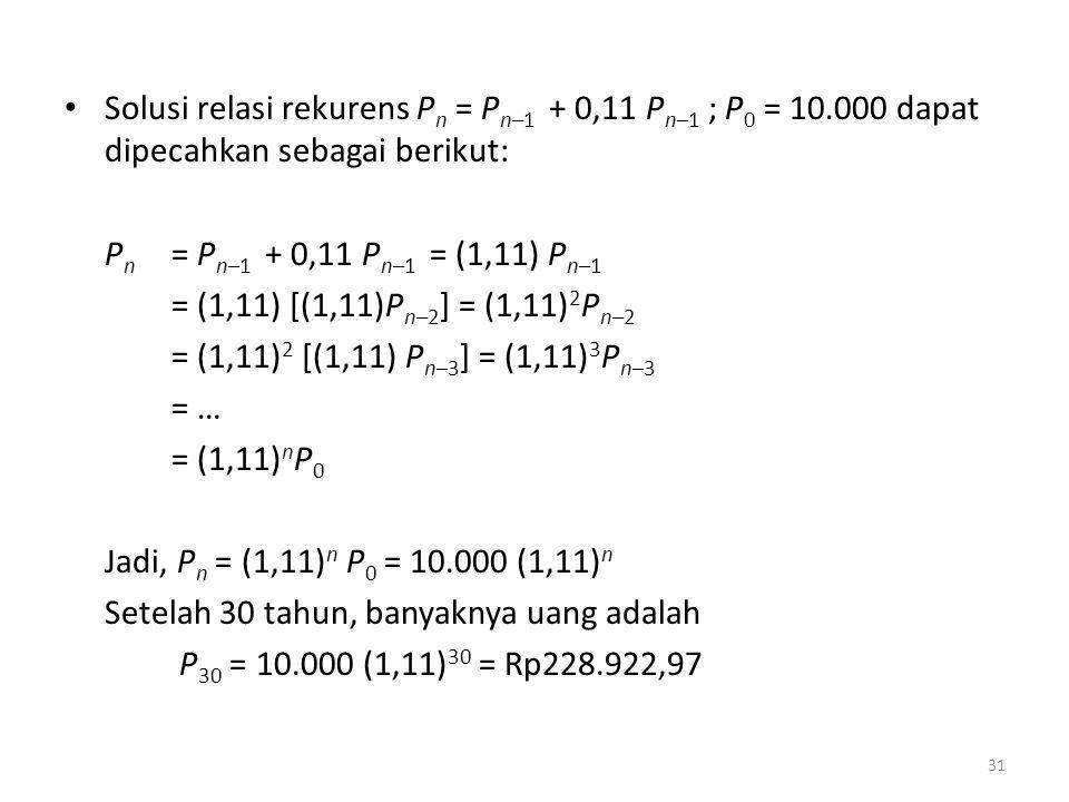 Solusi relasi rekurens P n = P n–1 + 0,11 P n–1 ; P 0 = 10.000 dapat dipecahkan sebagai berikut: P n = P n–1 + 0,11 P n–1 = (1,11) P n–1 = (1,11) [(1,11)P n–2 ] = (1,11) 2 P n–2 = (1,11) 2 [(1,11) P n–3 ] = (1,11) 3 P n–3 = … = (1,11) n P 0 Jadi, P n = (1,11) n P 0 = 10.000 (1,11) n Setelah 30 tahun, banyaknya uang adalah P 30 = 10.000 (1,11) 30 = Rp228.922,97 31