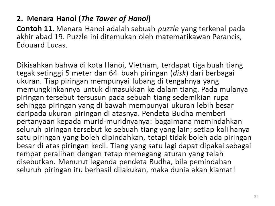 2. Menara Hanoi (The Tower of Hanoi) Contoh 11. Menara Hanoi adalah sebuah puzzle yang terkenal pada akhir abad 19. Puzzle ini ditemukan oleh matemati