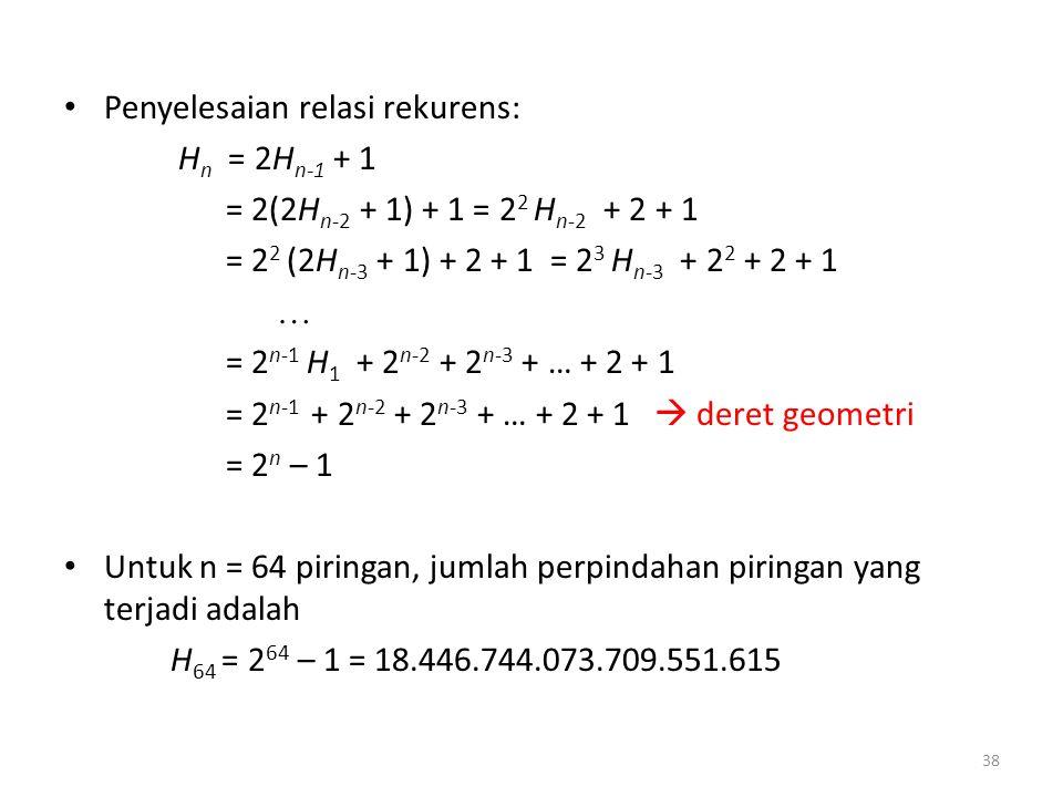 Penyelesaian relasi rekurens: H n = 2H n-1 + 1 = 2(2H n-2 + 1) + 1 = 2 2 H n-2 + 2 + 1 = 2 2 (2H n-3 + 1) + 2 + 1 = 2 3 H n-3 + 2 2 + 2 + 1  = 2 n-1 H 1 + 2 n-2 + 2 n-3 + … + 2 + 1 = 2 n-1 + 2 n-2 + 2 n-3 + … + 2 + 1  deret geometri = 2 n – 1 Untuk n = 64 piringan, jumlah perpindahan piringan yang terjadi adalah H 64 = 2 64 – 1 = 18.446.744.073.709.551.615 38