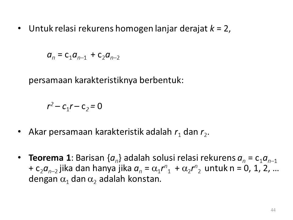 Untuk relasi rekurens homogen lanjar derajat k = 2, a n = c 1 a n–1 + c 2 a n–2 persamaan karakteristiknya berbentuk: r 2 – c 1 r – c 2 = 0 Akar persa