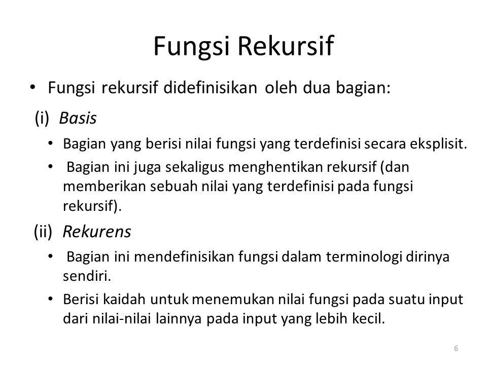 Fungsi Rekursif Fungsi rekursif didefinisikan oleh dua bagian: (i) Basis Bagian yang berisi nilai fungsi yang terdefinisi secara eksplisit. Bagian ini