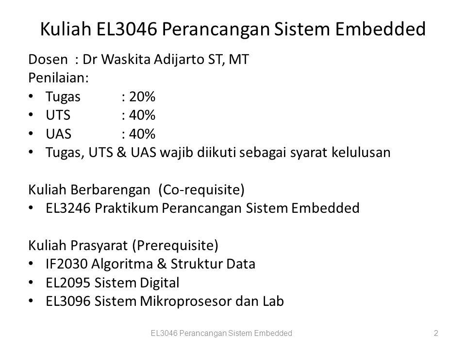 Kuliah EL3046 Perancangan Sistem Embedded Dosen: Dr Waskita Adijarto ST, MT Penilaian: Tugas : 20% UTS: 40% UAS: 40% Tugas, UTS & UAS wajib diikuti se