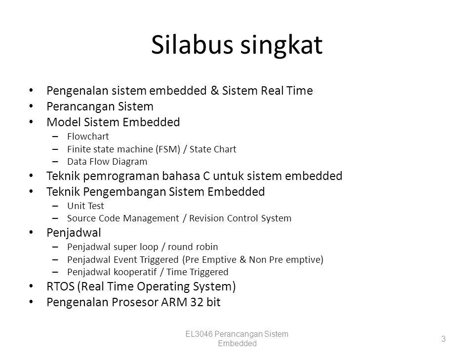 Silabus singkat Pengenalan sistem embedded & Sistem Real Time Perancangan Sistem Model Sistem Embedded – Flowchart – Finite state machine (FSM) / Stat