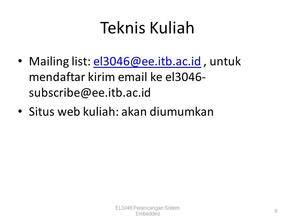 Teknis Kuliah Mailing list: el3046@ee.itb.ac.id, untuk mendaftar kirim email ke el3046- subscribe@ee.itb.ac.idel3046@ee.itb.ac.id Situs web kuliah: ak