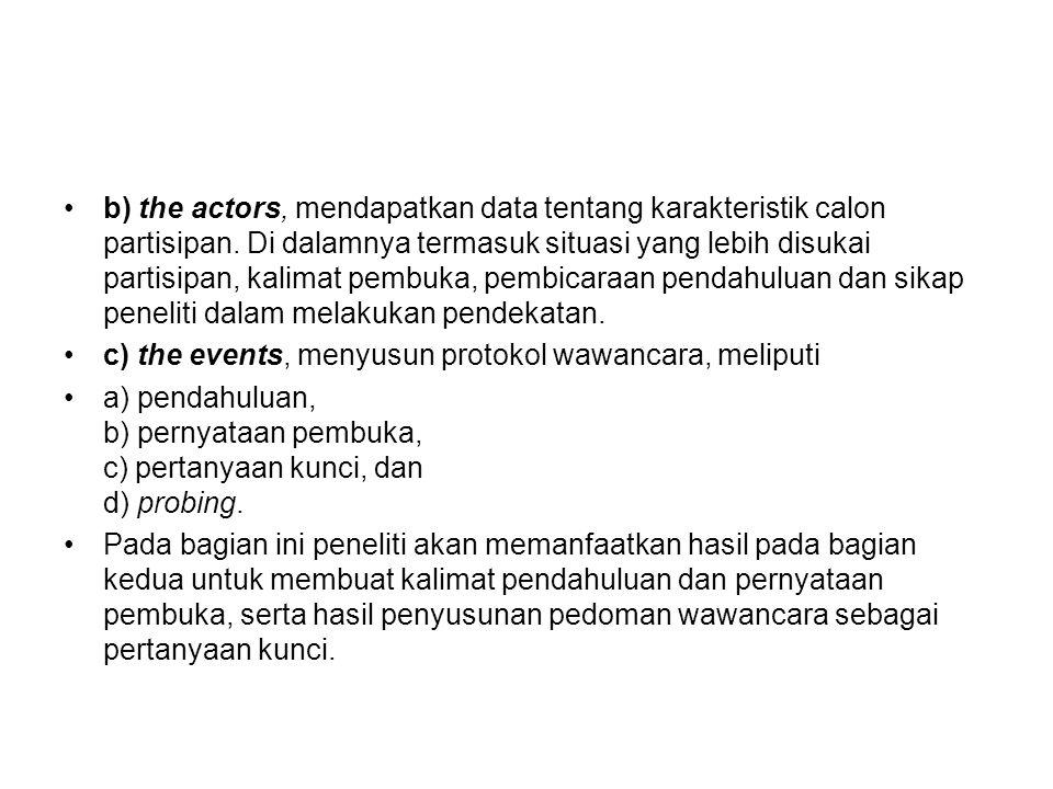 b) the actors, mendapatkan data tentang karakteristik calon partisipan. Di dalamnya termasuk situasi yang lebih disukai partisipan, kalimat pembuka, p