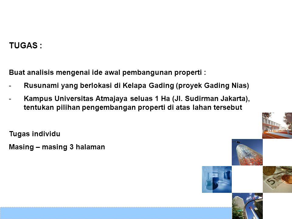 TUGAS : Buat analisis mengenai ide awal pembangunan properti : -Rusunami yang berlokasi di Kelapa Gading (proyek Gading Nias) -Kampus Universitas Atma