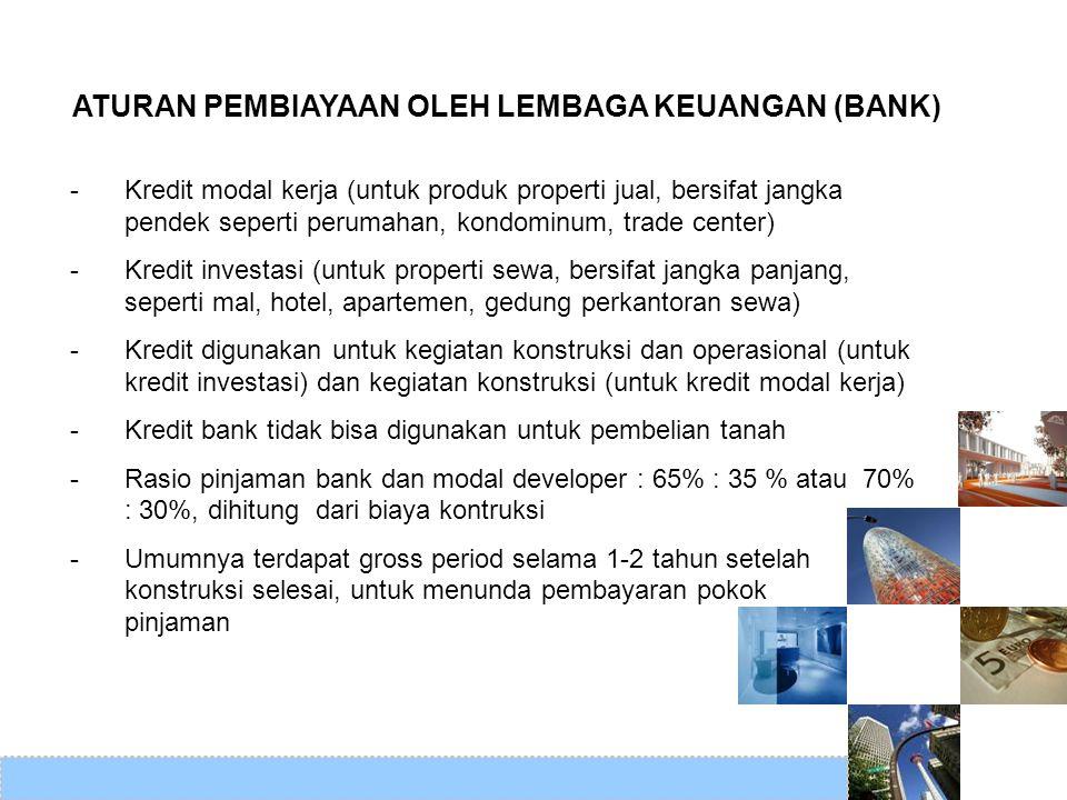ATURAN PEMBIAYAAN OLEH LEMBAGA KEUANGAN (BANK) -Kredit modal kerja (untuk produk properti jual, bersifat jangka pendek seperti perumahan, kondominum,