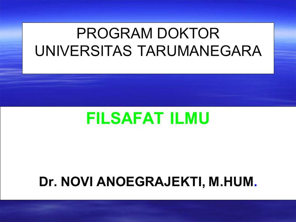 PROGRAM DOKTOR UNIVERSITAS TARUMANEGARA FILSAFAT ILMU Dr.
